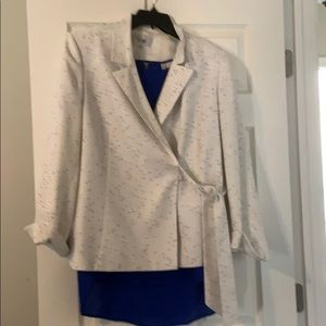 White Speckled Suite Jacket with Royal Blue Blouse